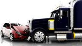 Accident between a car and a truck — Stockfoto