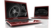 Two red laptop — Stock Photo