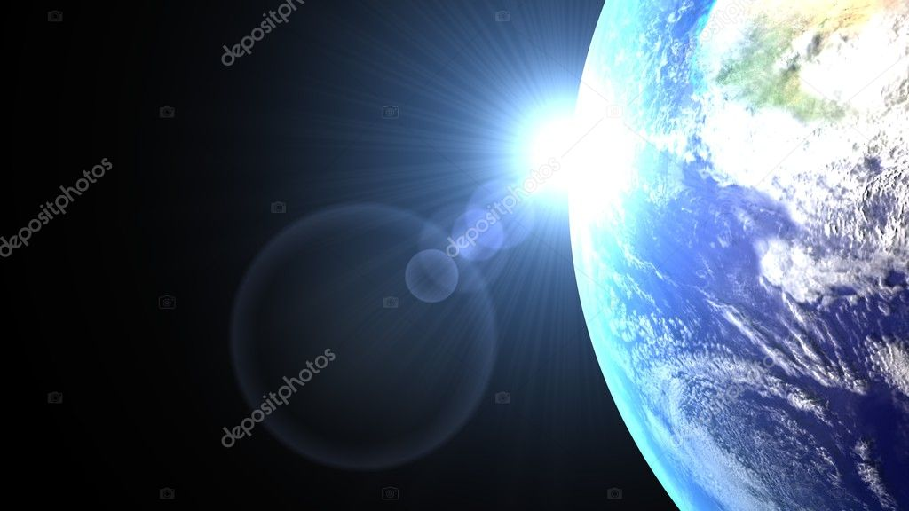 The sun back the earth with his blue ray — Stock Photo #2893371