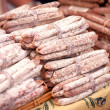 Sausages at a market — Stock Photo
