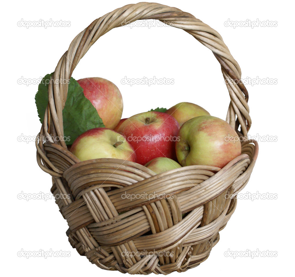 Basket  with apples on the white backgrjund — Stock Photo #3174693