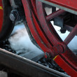 Red wheel of old steam train — Stock Photo #3616532
