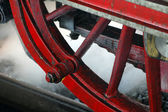 Red wheel of an old steam train — Stock Photo