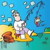 面白い漁師 — ストックベクタ