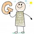 Doodle child holding letter G — Stock Vector