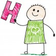Doodle child holding letter H — Stock Vector