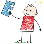 Doodle child holding letter E — Stockvector