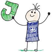 Doodle criança segurando a letra j — Vetor de Stock