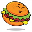 Funny cartoon hamburger — Stock Vector
