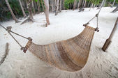 Empty hammock at the beach — Stock Photo