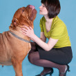 Girl with dogue de bordeaux on blue — Stock Photo #3103187