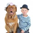 Boy with a female dog — Stock Photo
