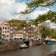 Channel view in Amsterdam - Stock Photo