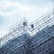 Construction falsework and builder — Stock Photo