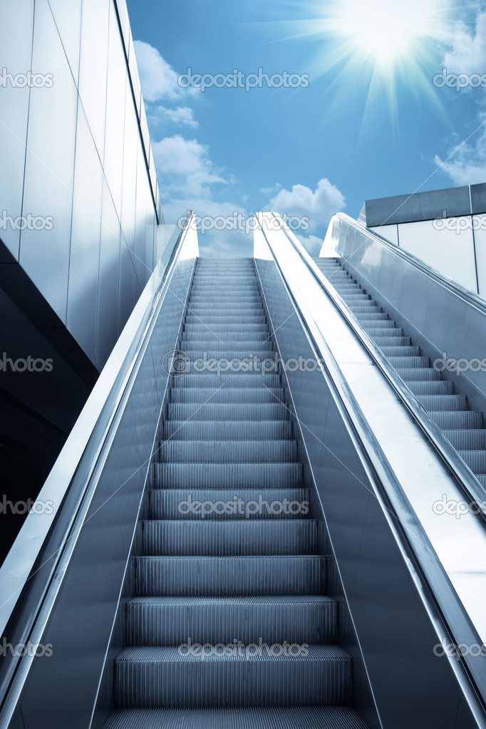 Escalator to the sky, urban fantasy landscape,abstract expression  Stock Photo #3369936