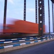 Truck throught the bridge — Stock Photo