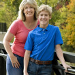 Mother and Son Leaning Against Railing — Stock Photo