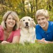 Family Portrait with Dog — Stock Photo #2844516