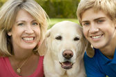 Mom, Son and Yellow Lab — Stock Photo