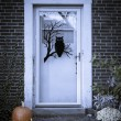 Front Door of Home During Halloween Season - Stock Photo