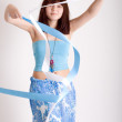 Hippie dancing with ribbons — Stock Photo