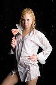 Girl with lollipop in aqua studio — Stock Photo