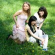 Three girls sitting on grass - Stock Photo