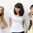 Three female friends standing — Foto Stock