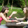 Two female meeting in a cafe — Stock Photo #3506957