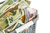 A dollars in a plastic basket. — Stock Photo