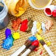 Paint and paint brushes — Stock Photo