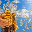 Stock Photo: Feng shui. buddhagainst sky.