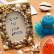 Seashell frame. Vacation memories. — Stock Photo