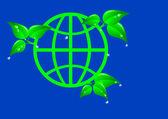 Zelená země s listy. — Stock vektor
