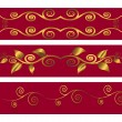 Red banners with swirls. Vector illustration. — Imagen vectorial