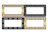 Set of golden and black frames. Vector. — Stockvektor
