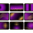 Set of purple credit cards. Vector. — Vector de stock #3663783