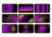 Set of purple credit cards. Vector. — Stock Vector