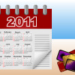 Calendar icon for 2011. Vector illustration. — Vettoriali Stock
