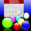 Icons of glass spheres and calendar 2011. Vector. 10eps. — Stockvektor