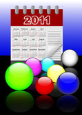 Icons of glass spheres and calendar 2011. Vector. 10eps. — Stock Vector