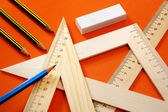 Measuring devices and a pencil — Stock Photo