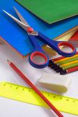 Cartulina de color y tijeras — Foto de Stock