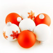 Red and white christmas balls — Stock Photo