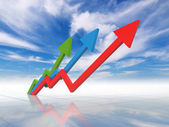 Business graph - growth to sky — Stock Photo
