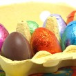 Chocolate easter eggs in carton box — Stock Photo