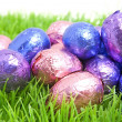 Royalty-Free Stock Photo: Colorful easter eggs on grass
