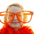 Soccer supporter with big orange glasses — Stock Photo #2898003