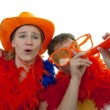 Two Dutch soccer fans — Stock Photo