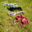 Fisherman rope in grass - Stock Photo